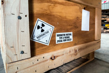 Radiation Label Beside The Transport Wooden Box Type A Package