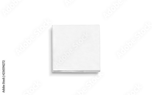 Fototapeta Blank white square folded napkin mock up, isolated
