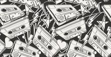 Audio Cassettes Drawn Seamless...