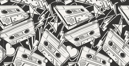 Obraz na płótnie Audio cassettes drawn seamless pattern