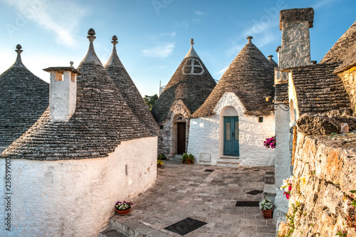 Photo Stands Historical buildings View of Trulli houses in Alberobello, Italy