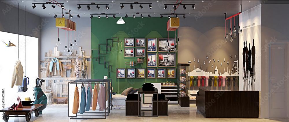 Fototapeta 3d render fashion shop interior