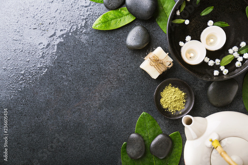 Foto op Canvas Spa Spa accessories on dark wet background