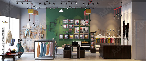 Foto 3d render fashion shop interior