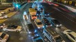 night traffic jam on the crossroad time lapse