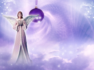 Winter angel archangel over beautiful winter christmas backgrund with copy space