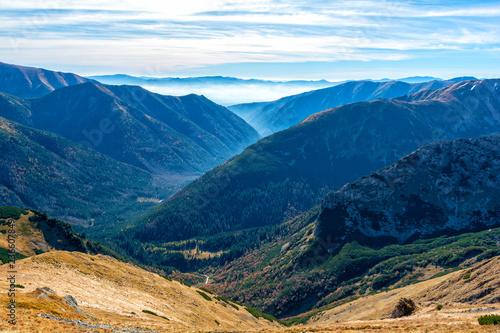 Plakat widok na dolinę z mgłą w Tatry na Słowacji