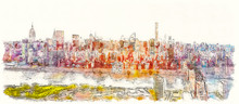 Aerial View Of The Ed Koch Queensboro Bridge Over The East River In New York City Watercolor Painting