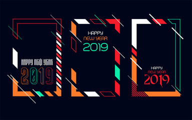 Vector vertical background frame for text Modern Art graphics for hipsters. Happy New Year 2019 design elements for design of gift cards, brochures