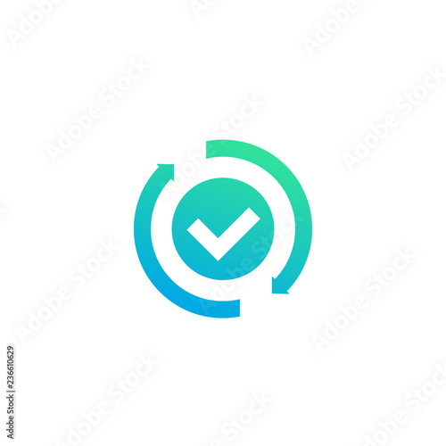 Cuadros en Lienzo exchange, convertation completed icon with checkmark and arrows