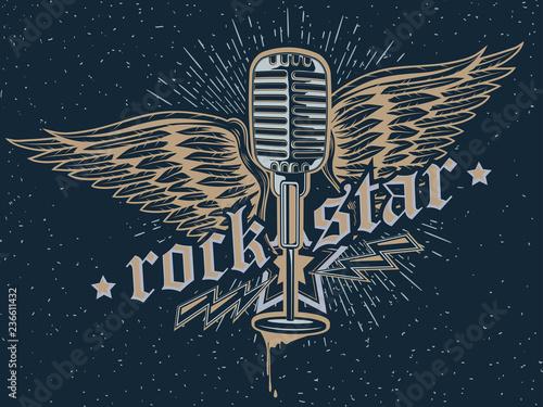 Rock star microphone emblem Canvas-taulu