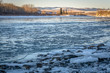 Frozen Bow River in Cochrane
