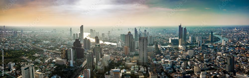 Fototapeta Thailand cityscape on sunset