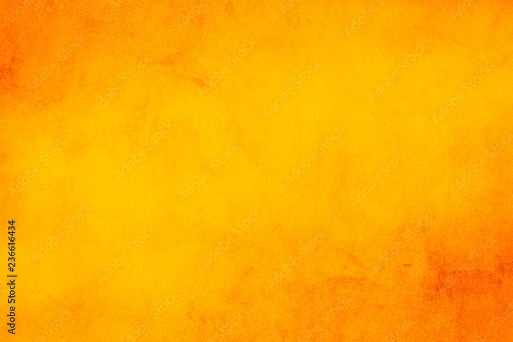 Fototapety, obrazy: Horizontal yellow and orange grunge texture cement or concrete wall banner, blank  background