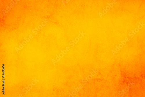 Horizontal yellow and orange grunge texture cement or concrete wall banner, blank  background - 236616434