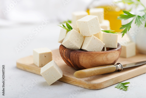 Photo  Fresh tofu cheese.