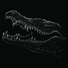 The Vector Logo Crocodile For T-shirt Design Or Outwear.  Hunting Style Crocodile Background.