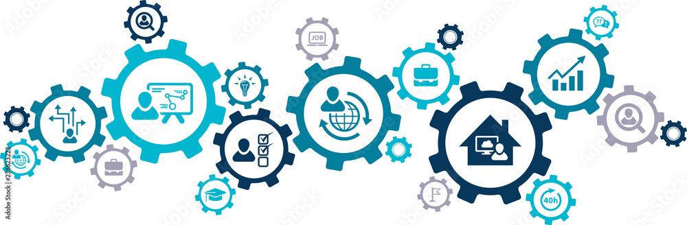 Fototapeta human resource management concept – modern hr aspects: vector illustration