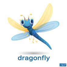 Cartoon Blue Dragonfly Charact...
