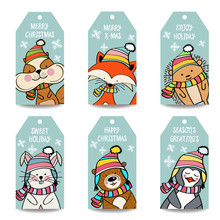 Christmas Labels Collection With Animals