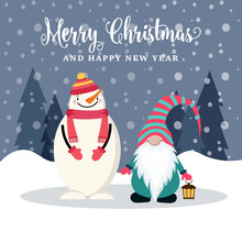 Beautiful Flat Design Christmas Card With Snowman And Gnome