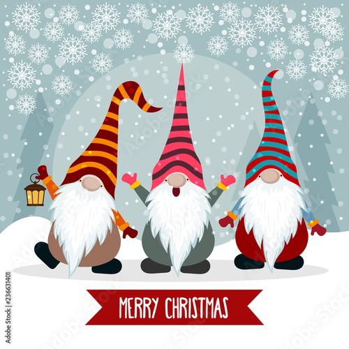 Christmas card with funny gnomes © Claudia Balasoiu