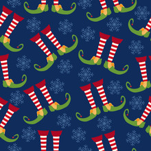 Christmas Seamless Pattern With Elf Legs