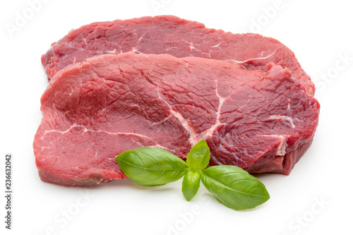Garden Poster Steakhouse Fresh raw beef steak isolated on white.