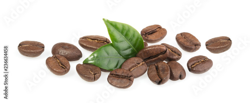 Foto op Plexiglas Cafe Coffee beans isolated on white background
