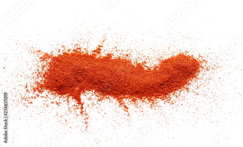 Pile of red paprika powder isolated on white background
