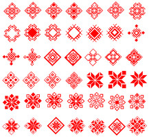 Red Ethnic Slavic Pattern On White Background