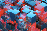 Technological abstraction 3d cube 3D illustration 3D visualization