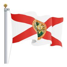 Waving Florida Flag Isolated O...