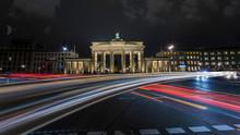 Light Stripes In Front Of The Brandenburg Gate In Berlin Germany
