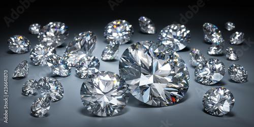 Fotografie, Obraz  Diamanten auf dunklem Untergrund