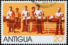 Steel Drum Band On Postage Stamp Of Antigua