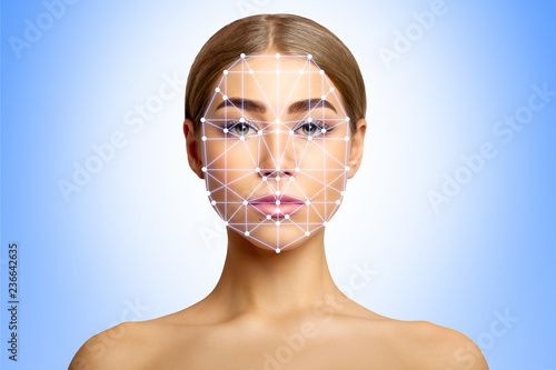 moins cher 6a894 ca288 Biometric verification of young woman with face tracking ...