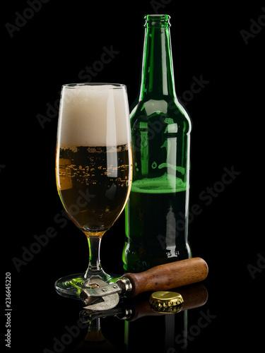Tuinposter Bier / Cider Beer, glass, bottle, opener, stopper