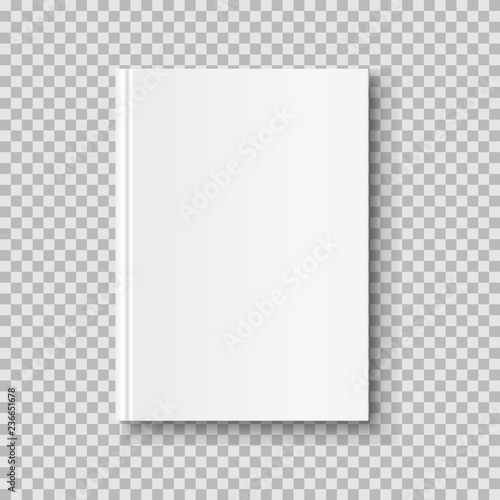 Fototapeta  Vertical closed book mock up isolated on transparent background