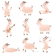 Set Of Different Funny Goats I...