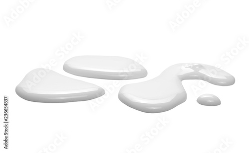 Spilled milk puddle isolated on white background and texture, with clipping path