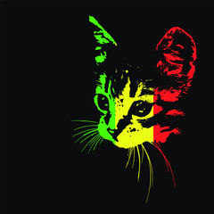 Silhouette of a cat on a black background. Rastafari. Vector illustration
