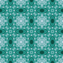 Seamless Pattern From Circular Abstract Floral Ornaments In Turquoise And Teal Color On Azure Background. Vector Illustration. Suitable For Fabric, Wallpaper And Wrapping Paper