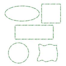 Candy Cane Frames Border Set: Square, Circle, Rectangle, Ellipse, Random Shape. Vector Christmas Design Isolated On White Background