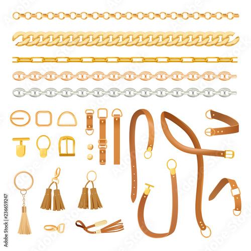 Fotografía Chains and Belts Fashion Elements Set