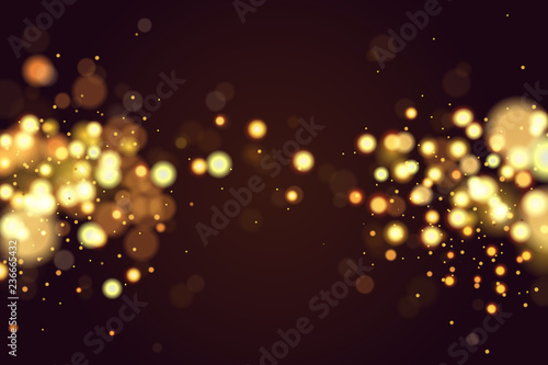 Fototapeta Abstract defocused circular Christmas golden bokeh sparkle glitter lights background. Magic christmas background. Elegant, shiny, metallic gold background. EPS 10. obraz na płótnie
