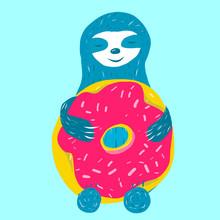 Cute Blue Sloth Is Hugging
