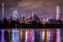 Christmas Funfair In The Night, London