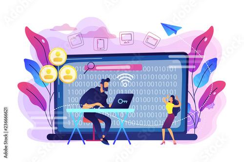 Fototapeta Hacker gathering target individuals sensitive data and making it public. Doxing, gathering online information, hacking exploit result concept. Bright vibrant violet vector isolated illustration obraz