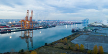 Overcast Skies Over Port Of Tacoma On The Tide Flats
